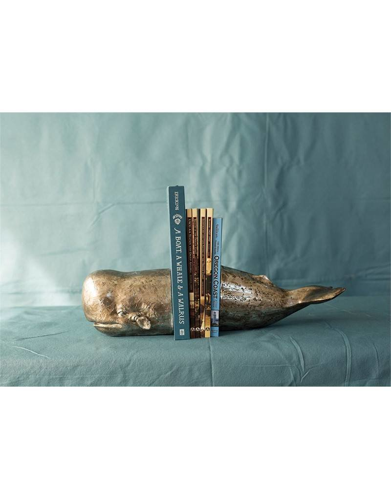 Whale Bookends with Antique Silver Leaf Finish