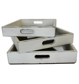 White Wooden SquareTrays Set of 3