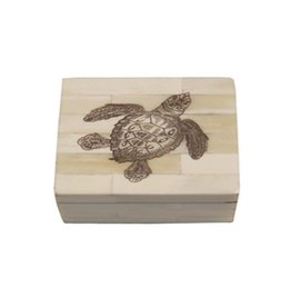 Sea Turtle Scrimshaw Bone Box