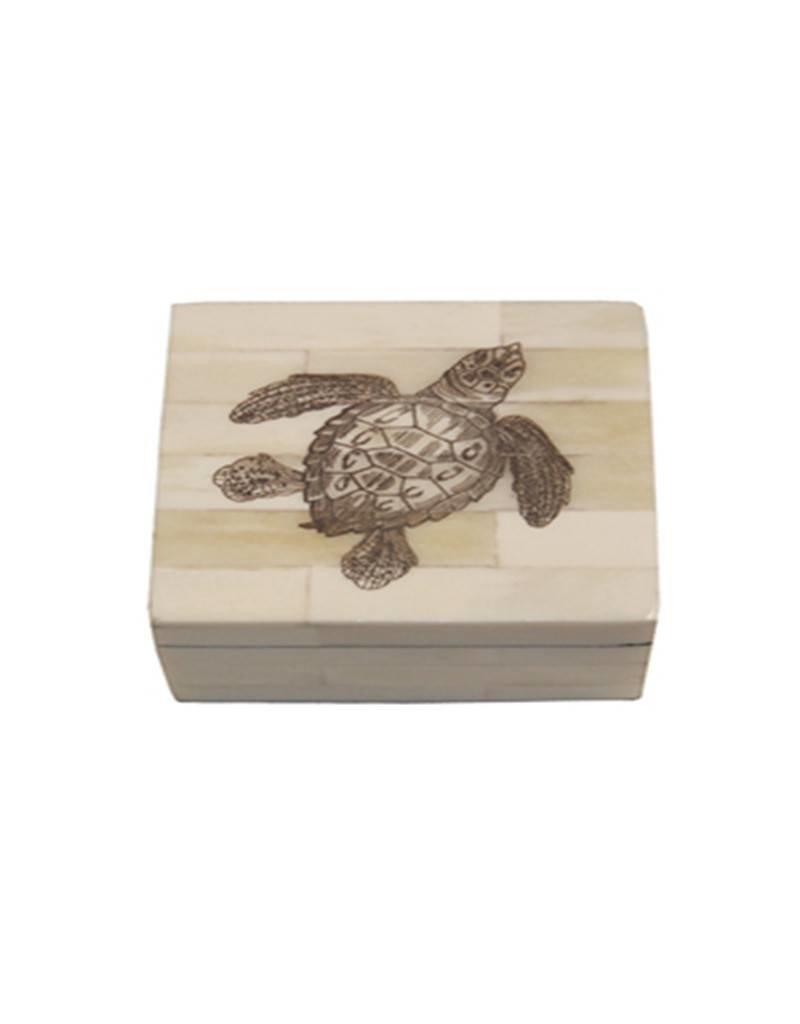 Sea Turtle Scrimshaw Bone Box