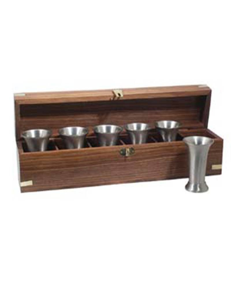 Pewter Plated Whiskey Beakers in Wooden Box