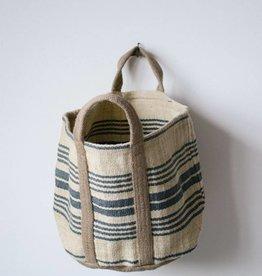 Jute Striped Sandy Bag Six Inch Handle