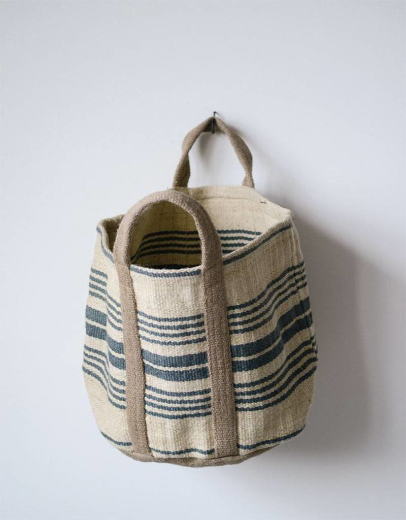 Jute Striped Sandy Bag Six Inch Handle
