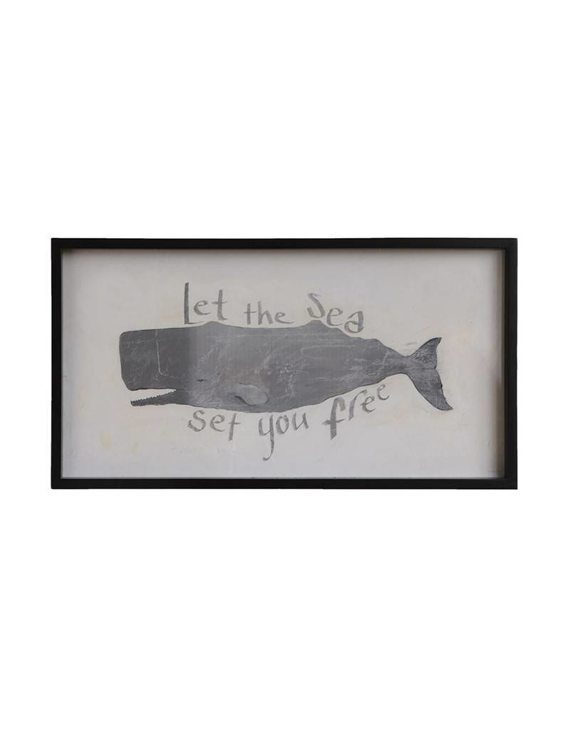 Wood Framed Print of Whale