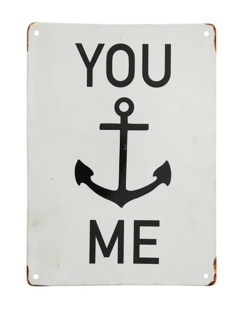 You and Me Metal Wall Sign Distressed White Background