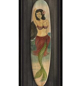 The Artwork of Kolene Spicher Star of the Beach Mermaid Surfboard Framed Print