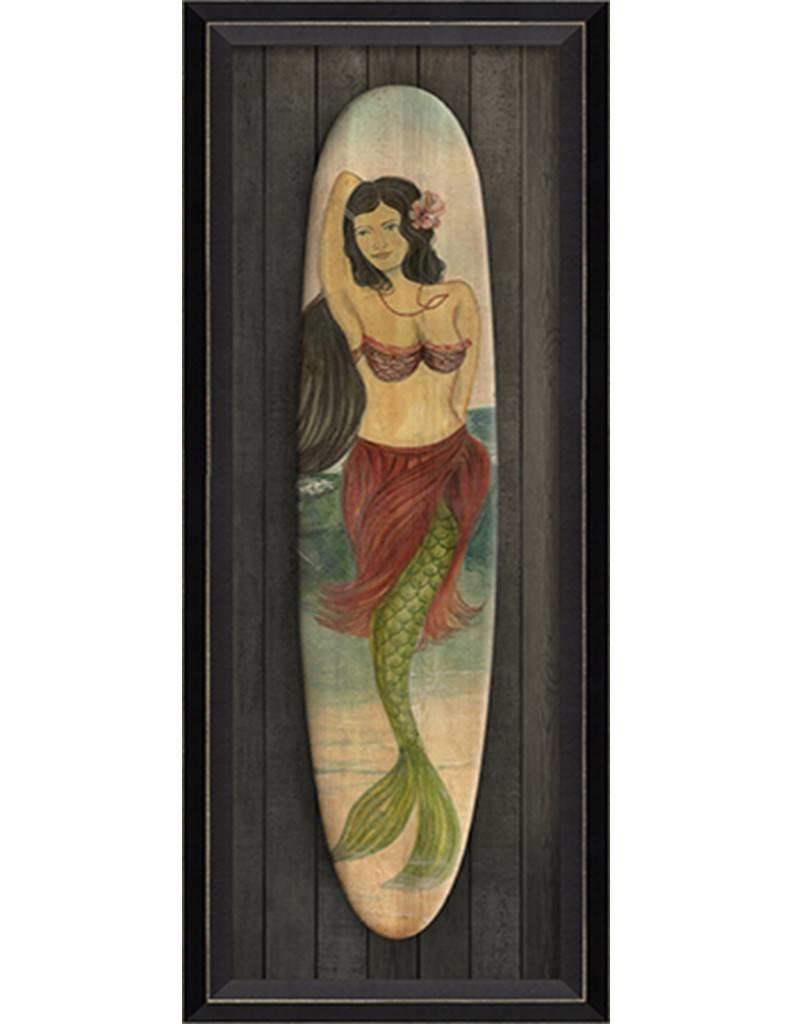 Star of the Beach Mermaid Surfboard Framed Print
