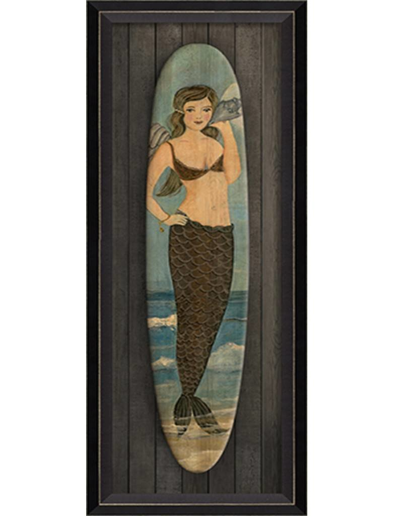 Love Song Mermaid Surfboard Framed Print