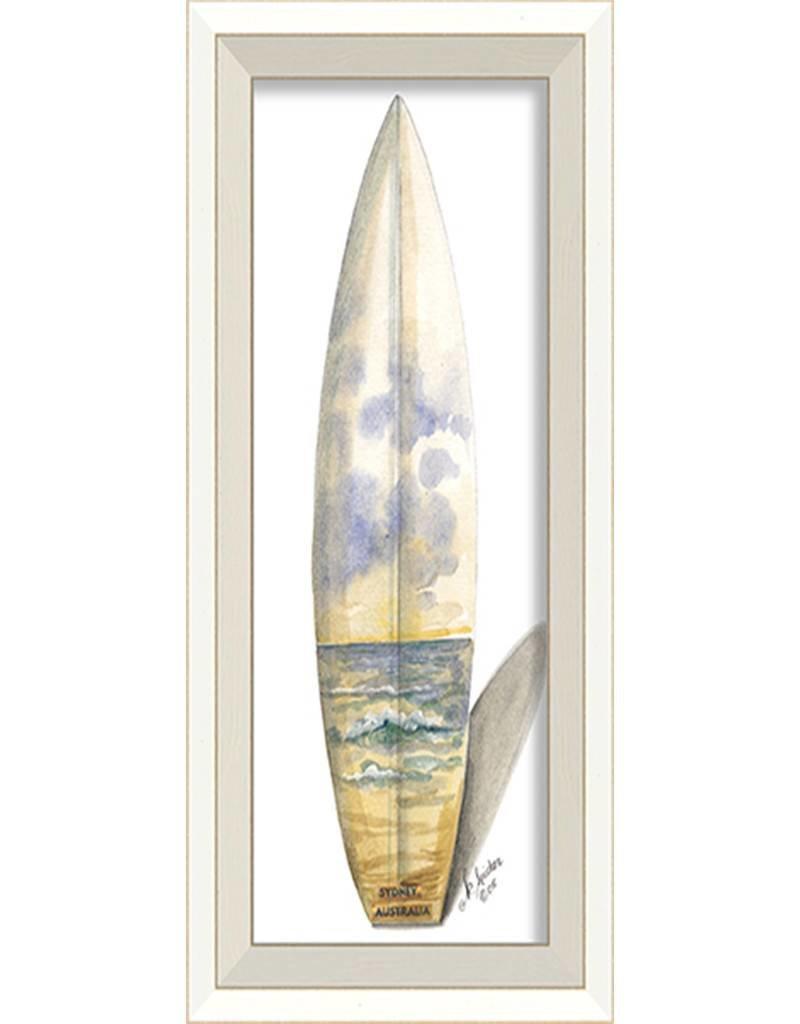 Sidney Australia Surfboard Framed Print