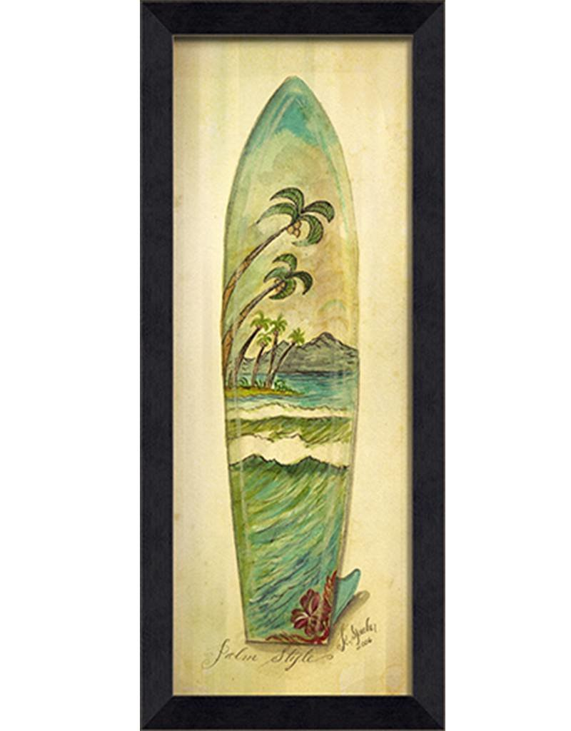 Palm Style Surfboard Framed Print