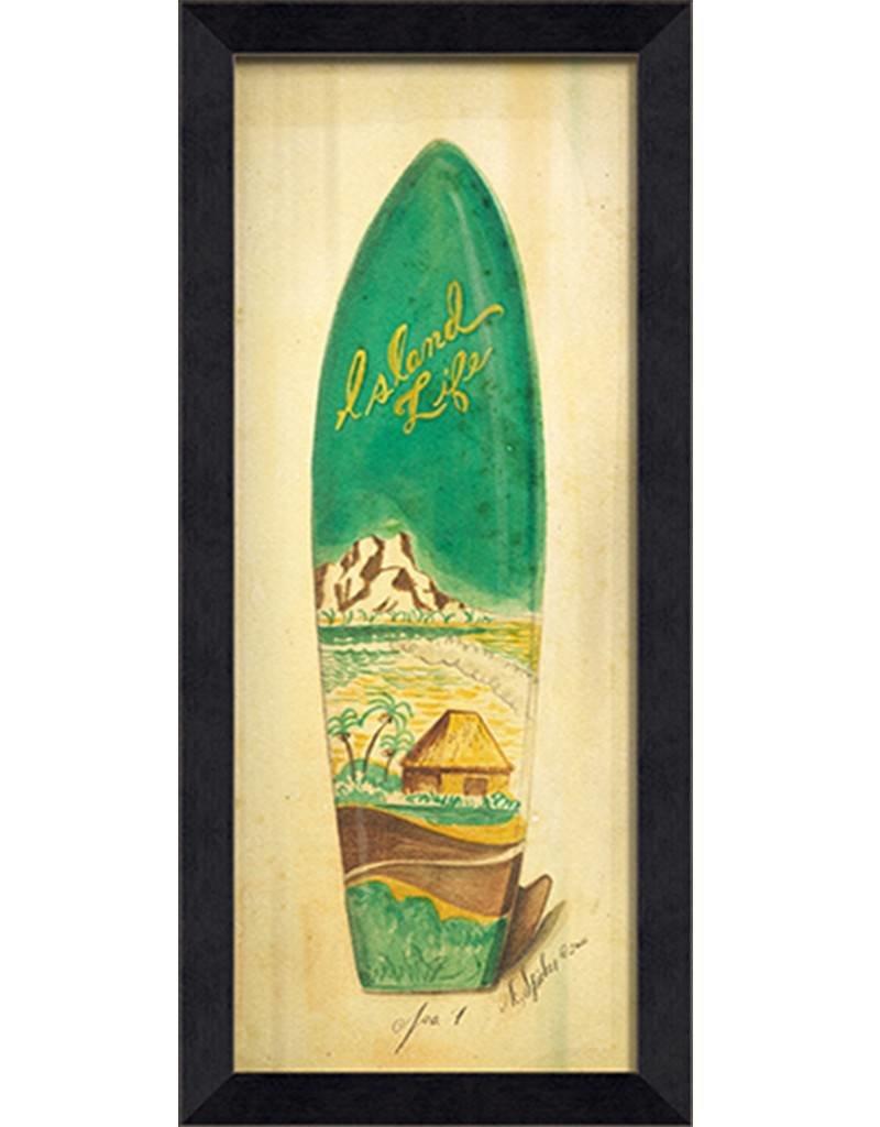 Island Life Surfboard Framed Print