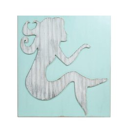 Grace Graffitti Distressed Wood Mermaid