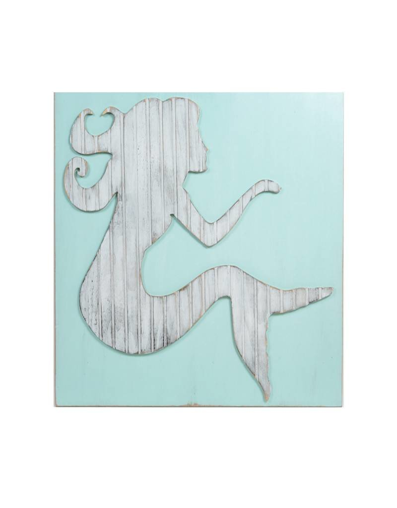 Grace Graffitti Distressed Wood Mermaid