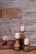 Nakato Wood Bark Candleholders - Set of 3