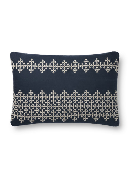 "LOLOI NAVY / IVORY 16"" X 26"" DOWN FILLED PILLOW"