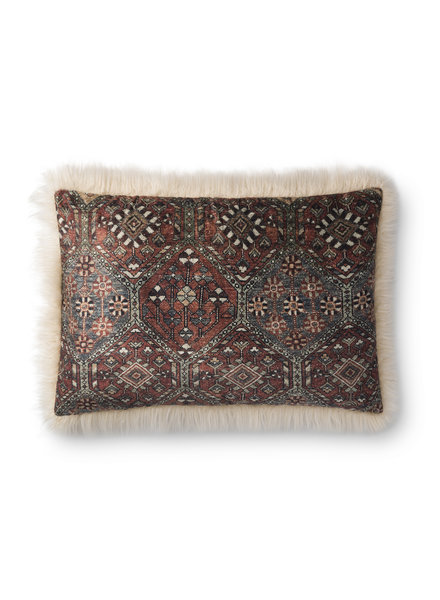 "LOLOI MULTI / IVORY 16"" X 26"" FIBER FILLED PILLOW"