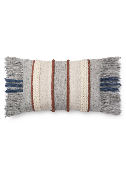 "LOLOI GREY / MULTI 13"" X 21"" DOWN FILLED PILLOW"
