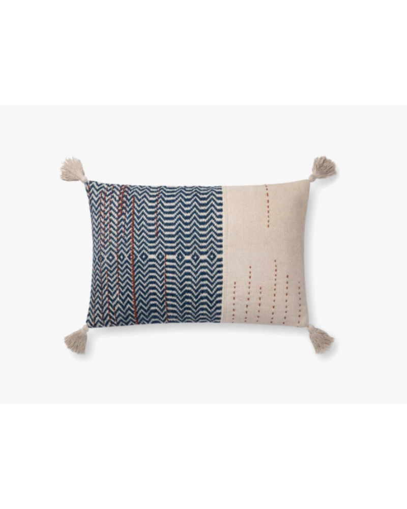 "LOLOI IVORY / INDIGO 16"" X 26"" PILLOW COVER"