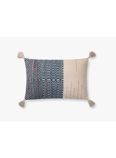 "LOLOI IVORY / INDIGO 16"" X 26"" DOWN FILLED PILLOW"