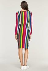 MILLY Chevron Knit Vertical Stripe Long Sleeve Dress