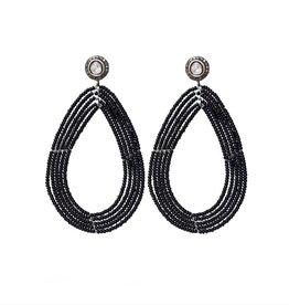 S CARTER DESIGNS Black Beaded Earrings with Diamond Stud