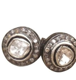 S CARTER DESIGNS Rosecut Diamond Studs with Pave Diamonds