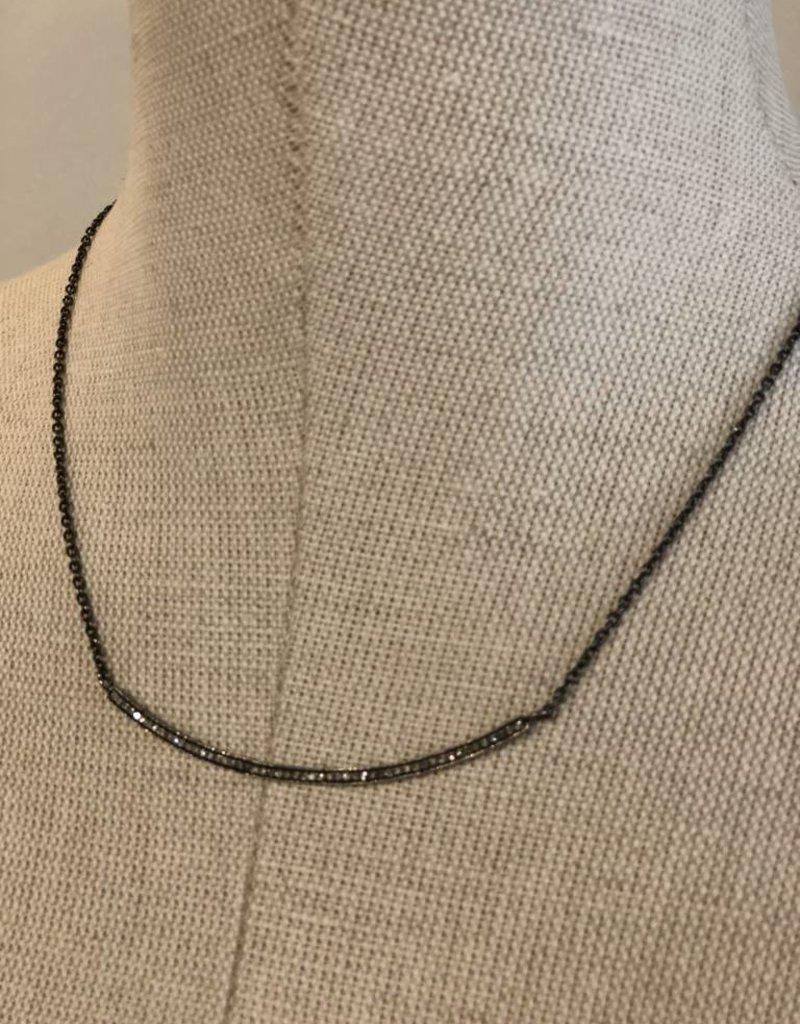 La Soula Curved Diamond Bar Necklace