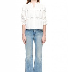LA VIE Embroidered Linen Blouse