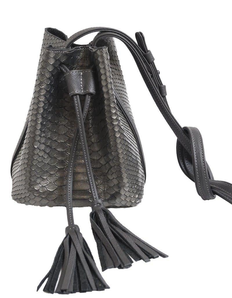 "J MARKELL ""Hampton"" Python Drawstring Mini Bucket Bag"