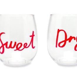 KATE SPADE Acrylic Wine Tumblers Sweet & Dry