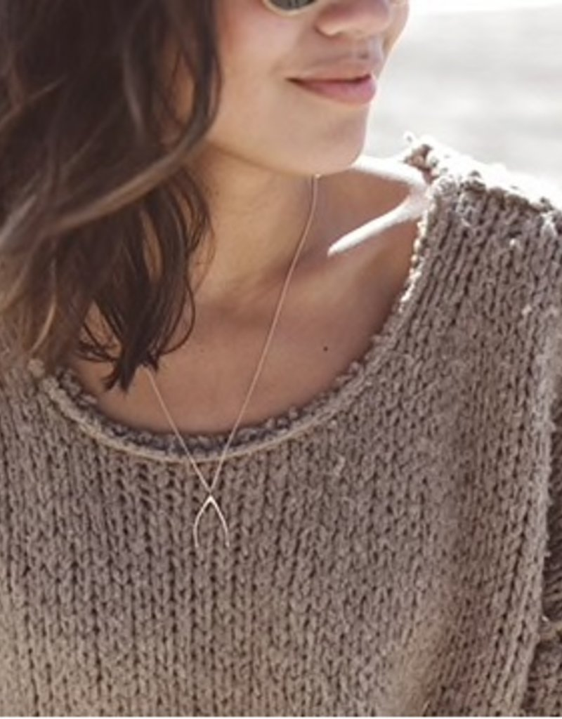 Christina Kober Wishbone Rose Gold Plated Mini Necklace