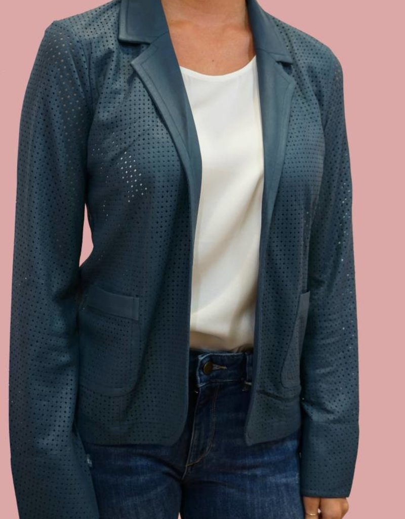 MY TRIBE Perforated Easy Blazer