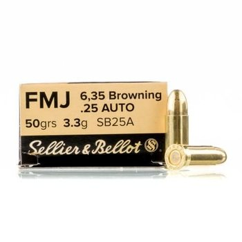 Sellier & Bellot Sellier & Bellot 6,35Browning/.25Auto 50gr FMJ 50/box