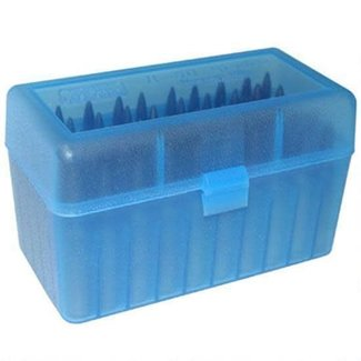 MTM RS-50 Series Small FlipTop Rifle Ammo Box, 50 Rounds, Clear Blue