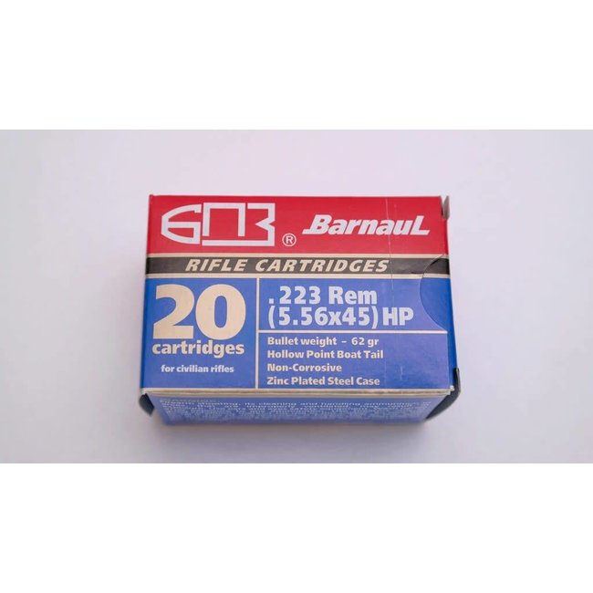 Barnaul .223 Rem 62GR HP Zinc Plated Steel Case -20/box