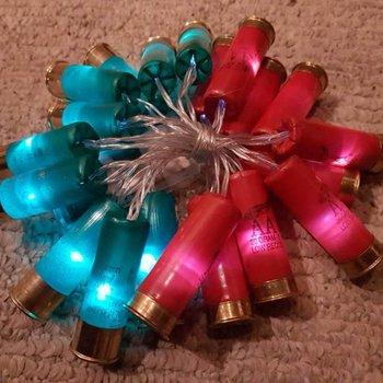 Handmade Shotgun Shell lights 20LED Shells,7ft long.
