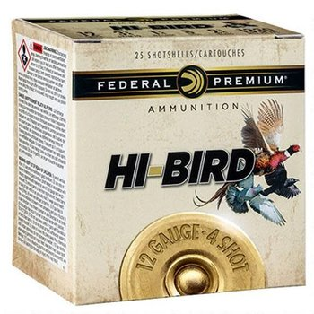 "Federal Federal Premium Hi-Bird 12GA. 2-3/4"" #4 1-1/4oz Lead Shot 1330fps 25 Rounds"
