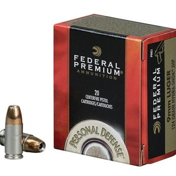 Federal Premium Personal Defense Pistol Ammo 9MM,JHP,124gr, Hydra-Shok