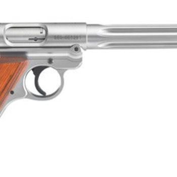 """Ruger Ruger Mark IV Hunter Semi Auto Pistol 22 LR 6.88"""" 10rd S/S Fluted Target, Wood grp"""