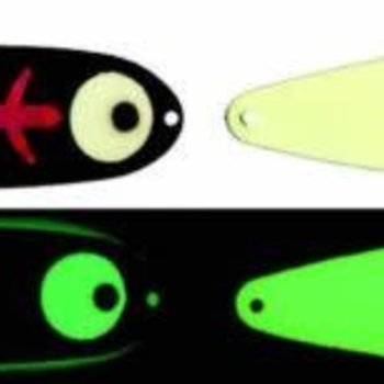 "Moonshine Lures MOONSHINE LURES GLOW IN THE DARK MAGNUM 5"" TROLLING SPOON - RASPBERRY CARBON"