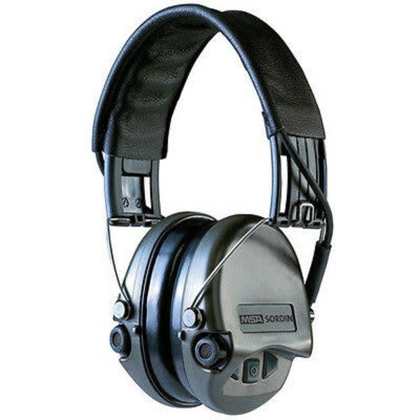 MSA Sordin Supreme Pro X, OD green cups, black leather  h/b, gel earseals