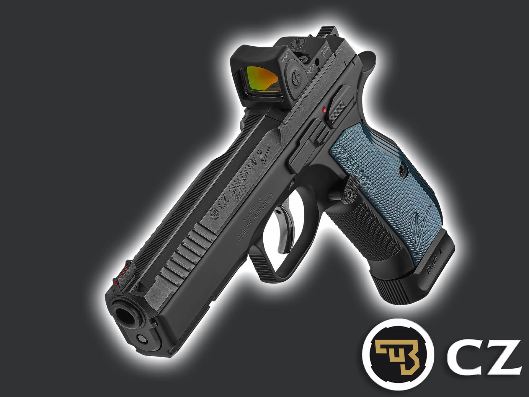 CZ75 SHADOW 2 OR OPTIC READY 9mm 120mmBL Blue Grip - Solely