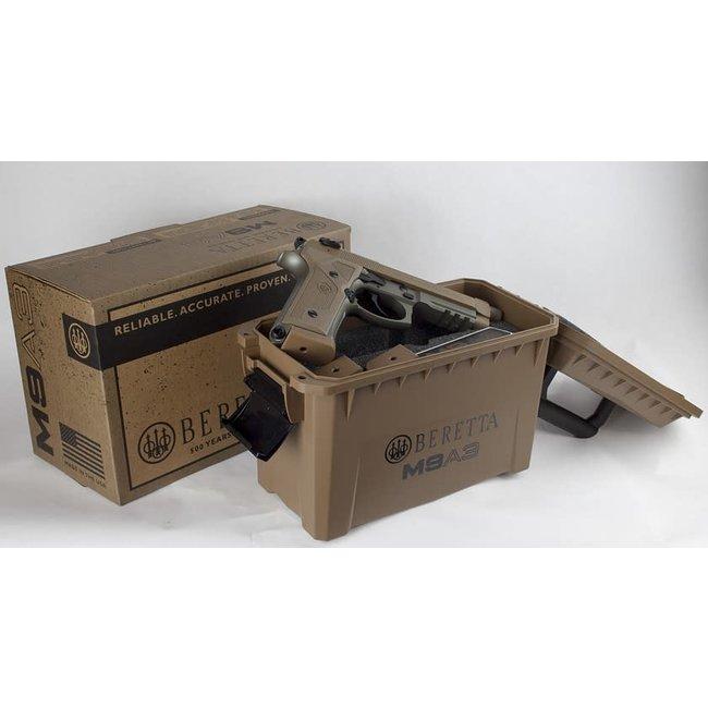 "BERETTA M9A3 FDE 9mm 5"" BRL W/3 10rd MAGAZINE & AMMO CASE"