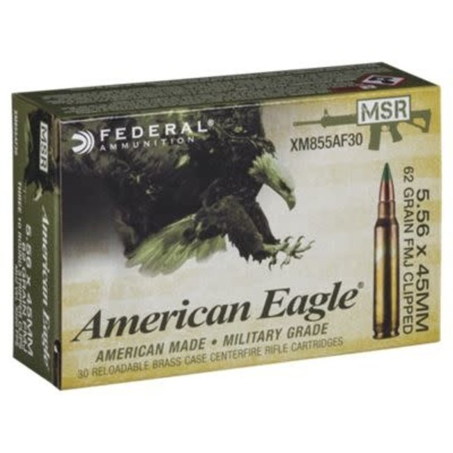 AMERICAN EAGLE 5.56X45MM XM855FL 62GR FMJ-BT BALL 500/case