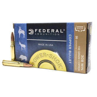 "Federal FEDERAL 308WIN 150GR ""COPPER BULLET"" Hollow Point Power-Shok 20/Box  LEAD FREE"