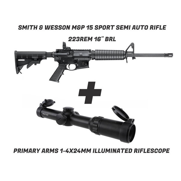 Smith & Wesson M&P 15 +  Primary Arms 1-4X24mm Illuminated Riflescope