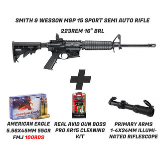 Smith & Wesson M&P 15 + PA SCOPE+100rds Ammo+ cleaning kit