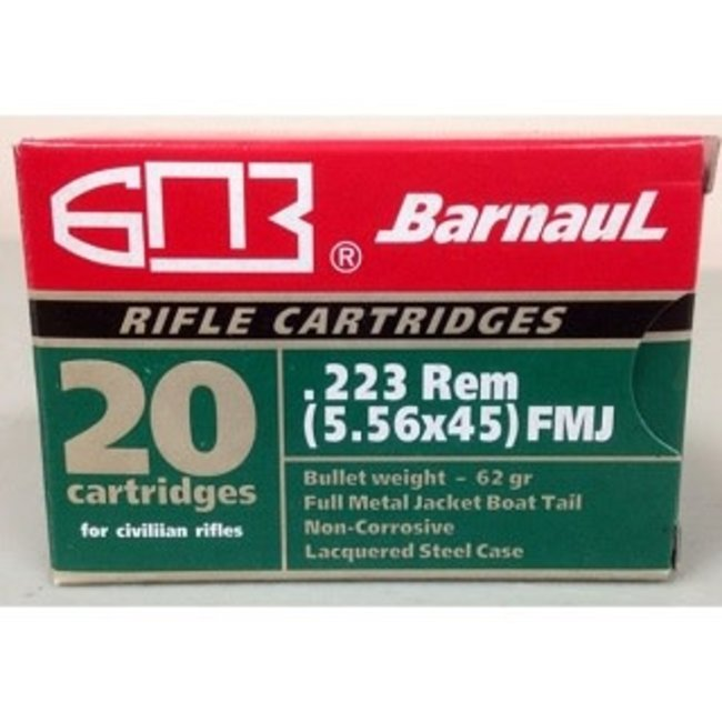 Barnaul .223 Rem 62GR FMJ BT NON CORROSIVE  500RS
