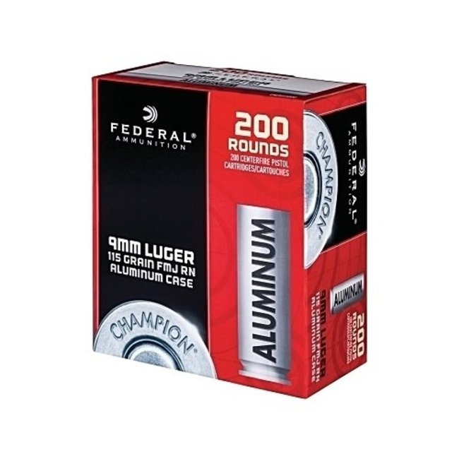 Federal Champion Aluminum 9mm Luger Ammo 115 Grain FMJ Value Pack of 200 Rounds