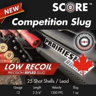 Score Score 12 Ga 2.75″  1300fps 1oz Competition Low Recoil Slug 25RS/BOX